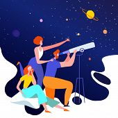 Happy Friends Visiting Planetarium, Looking At Celestial Bodies Or Space Objects poster