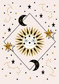Smiling Sun And Celestial Elements. Vector Illustration poster