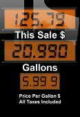 stock photo of high-octane  - Concept image with gas nozzle digital sales amounts - JPG