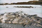 Beautiful Geothermal Spa Pool In Blue Lagoon In Reykjavik. The Blue Lagoon Geothermal Spa Is One Of  poster