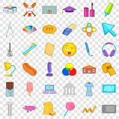 College Icons Set. Cartoon Style Of 36 College Icons For Web For Any Design poster