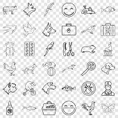 Domestic Animal Icons Set. Outline Style Of 36 Domestic Animal Icons For Web For Any Design poster