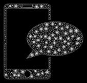 Glowing Mesh Phone Message With Lightspot Effect. Abstract Illuminated Model Of Phone Message Icon.  poster