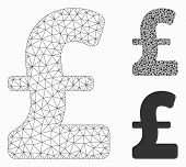 Mesh Pound Sterling Model With Triangle Mosaic Icon. Wire Carcass Triangular Mesh Of Pound Sterling. poster