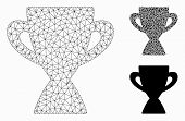 Mesh Prize Cup Model With Triangle Mosaic Icon. Wire Frame Polygonal Mesh Of Prize Cup. Vector Mosai poster