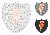 Mesh Power Shield Model With Triangle Mosaic Icon. Wire Frame Triangular Mesh Of Power Shield. Vecto poster