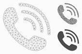 Mesh Phone Ring Model With Triangle Mosaic Icon. Wire Frame Polygonal Mesh Of Phone Ring. Vector Col poster