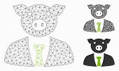 Mesh Pig Boss Model With Triangle Mosaic Icon. Wire Carcass Polygonal Mesh Of Pig Boss. Vector Colla poster