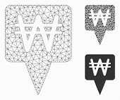 Mesh Korean Won Map Pointer Model With Triangle Mosaic Icon. Wire Carcass Triangular Mesh Of Korean  poster