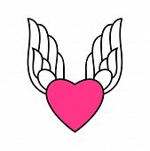 Heart Icon. Heart Icon With Wings  Isolated With White Background. Heart Icon Eps. Heart And Wings , poster