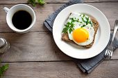Fried Egg On Wholegrain Toast And Cup Of Coffee For Breakfast. Fried Egg Sandwich On Plate Over Wood poster