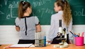 Little Scientist Work With Chemistry Microscope. Chemistry Research. Biology Lesson. Back To School. poster