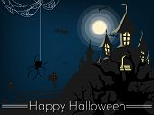 Halloween Background With Haunted House With Moon, Halloween Elements, Spiders And Web And Happy Hal poster