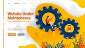 Web Under Maintenance, 404 Not Found, Web In Sales, Web In Repair Vector Illustration Concept Can Be poster