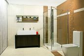image of lavabo  - Classics bathroom with glass shower and big basin - JPG