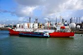 gas-carrier in port for loading and bunkering operations