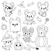 Vector Set Of Halloween Mouse. Rats Dressed Up In Costumes, Witch, Pirate, Ghost, Vampire And Mummy. poster