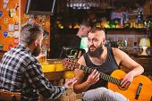Hipster Brutal Bearded Spend Leisure With Friend In Bar. Real Men Leisure. Cheerful Friends Relax Wi poster