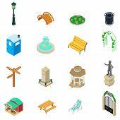 Park Stuff Icons Set. Isometric Set Of 16 Park Stuff Icons For Web Isolated On White Background poster