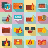 Firewall Icons Set. Flat Set Of Firewall Vector Icons For Web Design poster
