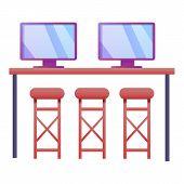 Modern It Desktop Icon. Cartoon Of Modern It Desktop Vector Icon For Web Design Isolated On White Ba poster