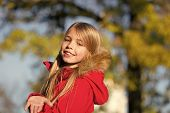 Happy Small Girl On Fresh Air. Small Girl Happy Smiling In Autumn Woods. Small Fashion Model. Childh poster