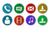 Icon Collection. Phone Icon, Chat Icon, Mail Icon, Download Icon, Upload Icon, Music Icon, Movie Ico poster