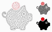 Mesh Piggy Bank Model With Triangle Mosaic Icon. Wire Carcass Triangular Mesh Of Piggy Bank. Vector  poster