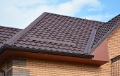 Wateproofing Roof Problem Area With Metal Roof Sheets And Rain Gutter. Lightweight Metal Roof Tiles  poster