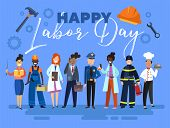 Happy Labor Day Card Or Poster Design With A Group Of Multiracial People From The Community In Diffe poster