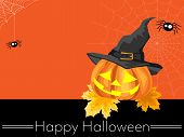 Halloween Background With Witch Halloween Pumpkin With Witch Hat And Happy Halloween Text. poster