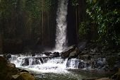 Waterfall Landscape. Beautiful Hidden Waterfall In Tropical Rainforest. River In Jungle. Adventure A poster