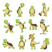 Cartoon Turtles. Happy Funny Animals Running Tortoise Vector Collection. Illustration Of Turtle Frie poster