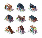 Private Modern Houses. City Residential Models Of Buildings Miniature 3d Low Poly Vector Isometric I poster