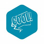 Cool, Comic Text Speech Bubble Icon. Simple Illustration Of Cool, Comic Text Speech Bubble Icon For  poster