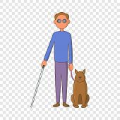 Blind Man With Guide Dog Icon. Cartoon Illustration Of Blind Man With Guide Dog Icon For Web Design poster