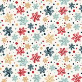 Hand Drawn Abstract Winter Snowflakes Pattern. Stylish Crystal Stars. Red Green Ecru Background. Ele poster