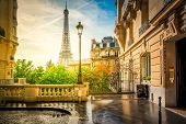 Cosy Paris Street With View On The Famous Eiffel Tower On A Cloudy Summer Day, Paris France, Retro T poster