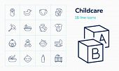 Childcare Icons. Set Of Line Icons On White Background. Baby, Diapers, Cradle. Childbirth Concept. V poster
