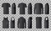Male Black Shirt Vector Templates, 3d Mockup Of Blank T-shirts From Side And Front Views. Polo, Swea poster