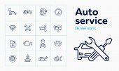 Auto Service Line Icon Set. Set Of Line Icons On White Background. Auto Concept. Car, Checking, Mach poster