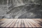 Old Wood Plank Or Wood Floor With Cement Wall Texture Background Use For Product Display poster