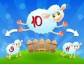picture of counting sheep  - White sheep jump over fence on meadow - JPG