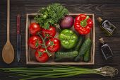 Fresh Vegetables, Wooden Box, Painted Wooden, Fruit, Wooden Background, Burlap, White Background, Wo poster