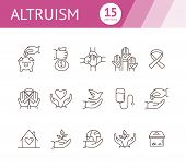 Altruism Icons. Line Icons Collection On White Background. Charity, Blood Donation, Charity Box. Don poster