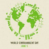 World Environment Day Illustration. Green Planet Earth Concept With Buildings And Nature For Sustain poster
