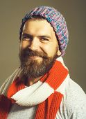 Men Winter Fashion. Handsome Man Wearing Scarf, Hat, Jacket. Casual Look. Trendy Man In Cap. Mens C poster