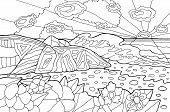 Psychedelic Illustration With Seaside Landscape. Ocean Sunset. Line Art Coloring Page For Adults. Hi poster