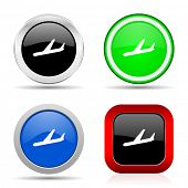 Arrivals red, blue, green and black web glossy icon set in 4 options poster