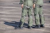 Legs Of Air Force Pilots. Pilots Who Are In Preparation For Flight Training On Military Airbase poster